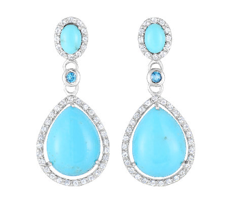 Pear-Shaped Turquoise & Gemstone Drop Earrings,Sterling