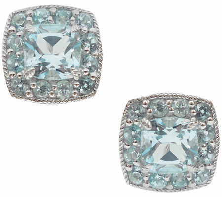 Judith Ripka Sterling 2.60cttw Blue Topaz HaloStud Earrings