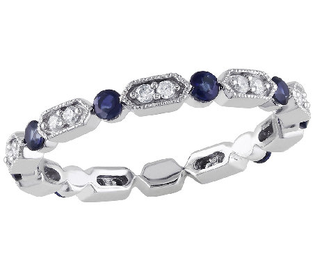 Blue Sapphire & Diamond Eternity Band Ring, 14KWhite Gold