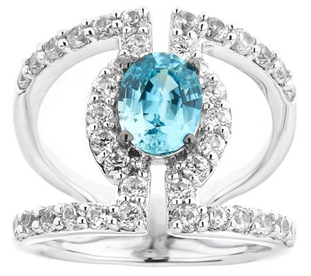 Sterling 3 00 Cttw Blue White Zircon Ring