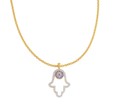 Sterling Gemstone Hamsa Necklace