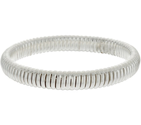 Sterling Silver Ribbed Slip-on Bangle Bracelet by Silver Style