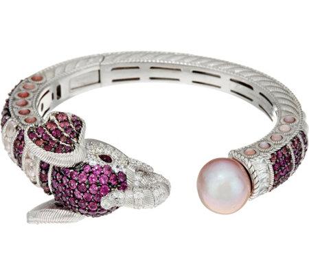 Judith Ripka Sterling 6 45 Cttw Gemstone Ethel Elephant Cuff Bracelet