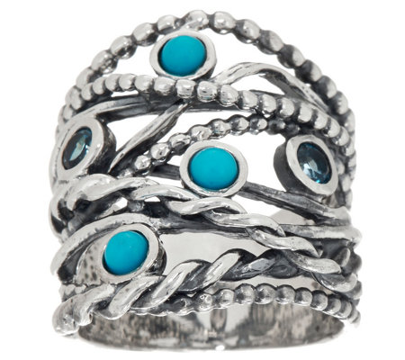 Or Paz Sterling Silver Multi-gemstone Highway Ring