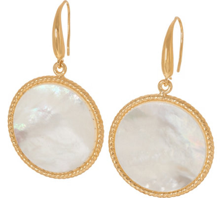 Honora White Mother-of-Pearl Round Drop Earrings, Sterling