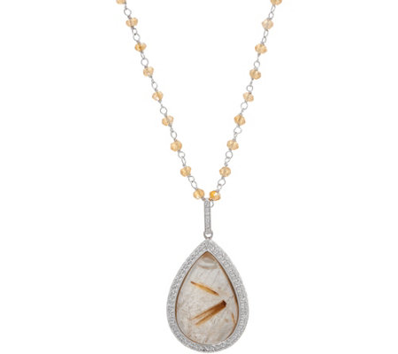 "DeLatori 24.75 ct Rhutilated Quartz 18"" Necklace"