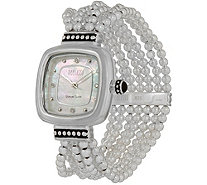 Ecclissi Sterling Silver Square Beaded Stretch Watch - J351539