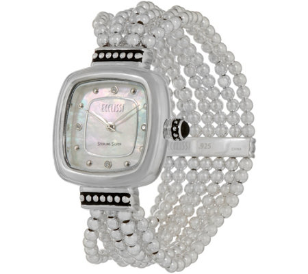 Ecclissi Sterling Silver Square Beaded Stretch Watch