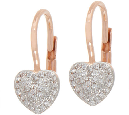 Pave Heart Diamond Earrings, 1/5 cttw, 14K by Affinity