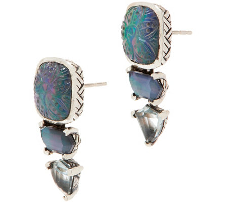 Stephen Dweck Sterling Silver Triple Drop Earrings