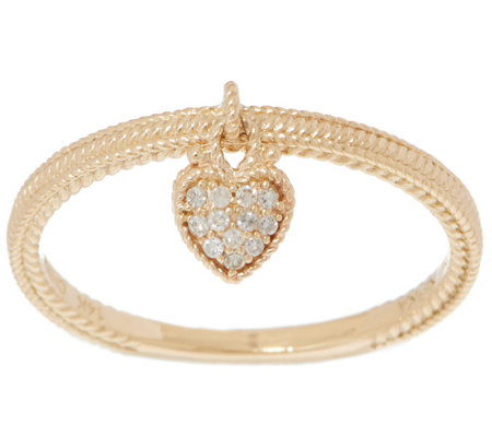 Judith Ripka 14K Gold Diamond Heart Charm Ring