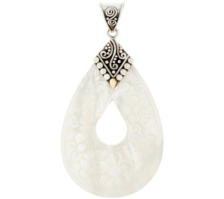 Artisan Crafted Sterling Silver Mother-of-Pearl Pear Shaped Pendant