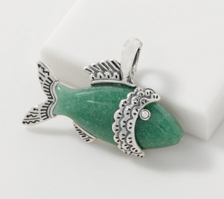 American West Sterling Silver Aventurine Fish Enhancer