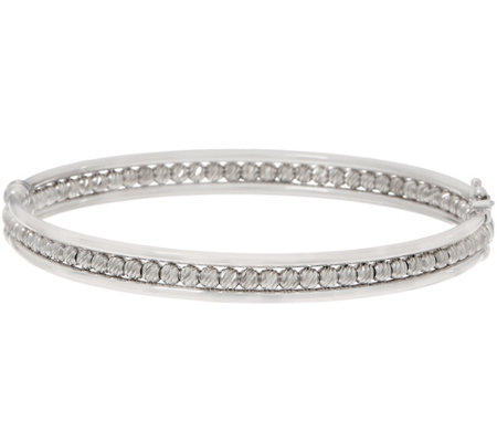 Italian Silver Diamond Cut Bead Bangle