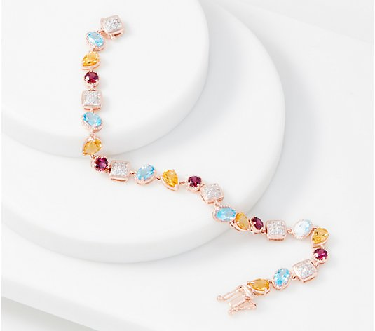 Multi-Gemstone Tennis Bracelet, 6.55 cttw, 14K Rose Gold Plated
