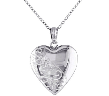 Sterling Heart Locket Pendant with Chain by Silver Style