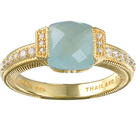 Judith Ripka 14K Clad Milky Aquamarine & Diamonique Ring