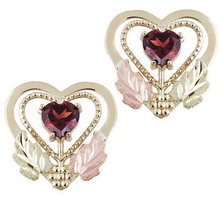 Black Hills Garnet Heart Stud Earrings 10k 12kgold