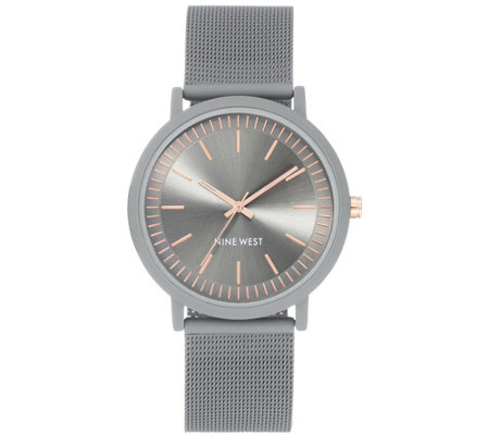 Nine West Women's Gray Rubberized Mesh BraceletWatch