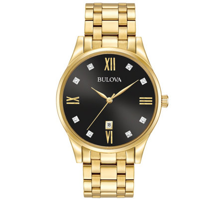 Bulova Men's Stainless Steel Goldtone Diamond Accent Watch