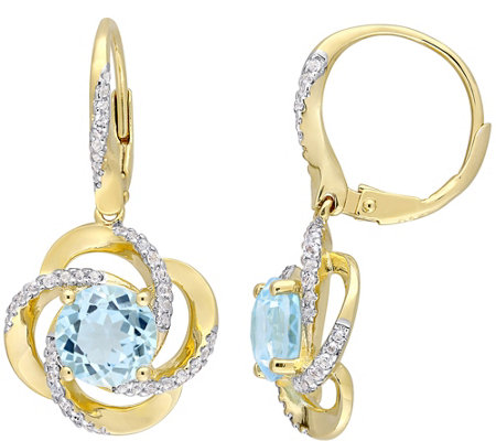 Sterling & 14K Gold 5.20-ct Blue & White TopazDangle Earrings