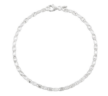 UltraFine Silver 11&quot Diamond Cut Confetti LinkAnklet