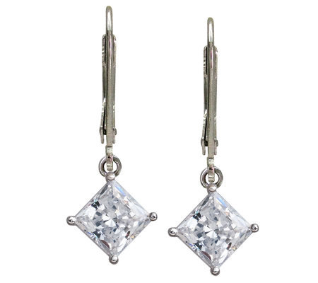 Diamonique 3 cttw Princess-Cut Lever Back Earrings
