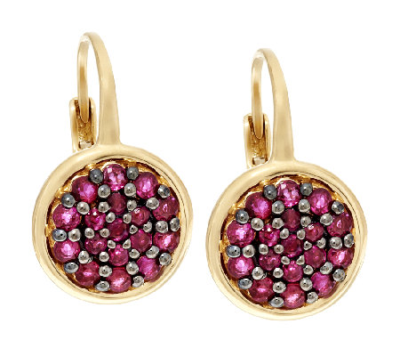 1 00 Ct Tw Pave Thai Ruby Leverback Drop Earrings 14k Gold