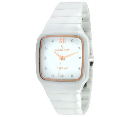 Peugeot Women's Swiss Ceramic Square Case WhiteWatch