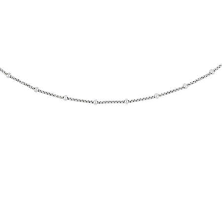 "Sterling 18"" Polished Beaded Box Chain"