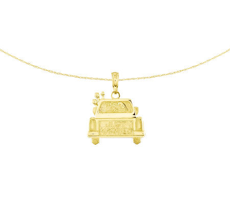 "Polished ""Just Married"" Car Pendant w/ 18"" Chain, 14K"