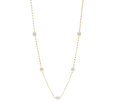 "14K Gold 20"" 8.0mm Cultured Pearl Station Necklace"