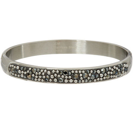 Stainless Steel Crystal and Bead Design Hinged Bangle Bracelet