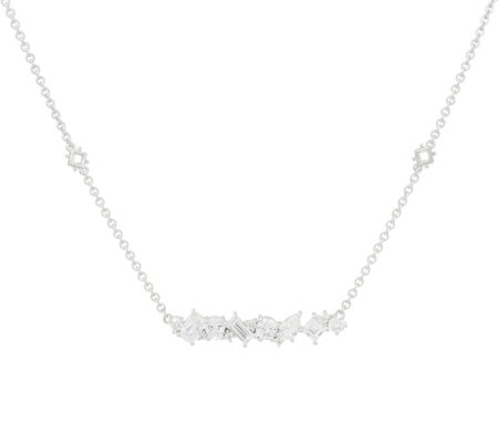 Judith Ripka Sterling Silver 4.65 cttw. Diamonique Bar Necklace