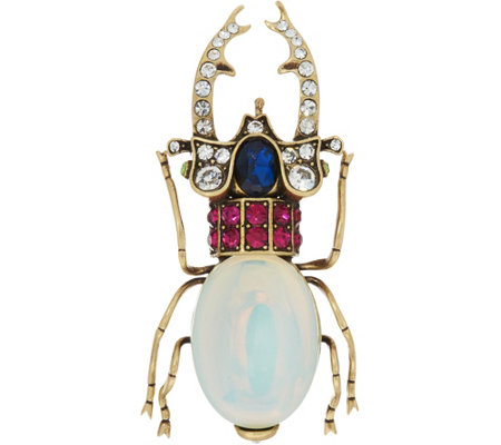 Joan Rivers Private Collection Simulated Opal Beetle Brooch