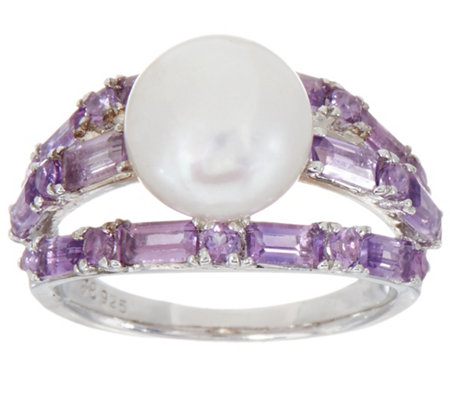 Honora Cultured Pearl Bold Gemstone Ring, Sterling