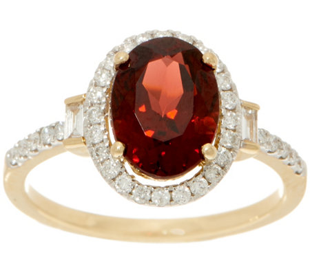 2.30 carat Garnet & 1/4 cttw Diamond Ring, 14K Gold