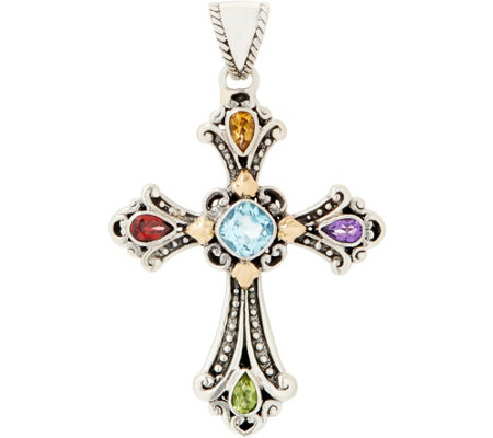 Artisan Crafted Sterling Silver & 18K Gold Multi-Gemstone Cross Pendant
