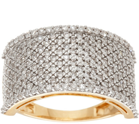 """As Is"" Pave' White Diamond Wide Band Ring, 14K 1.00 cttw by Affinity"