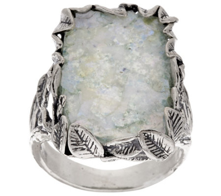 """As Is"" Or Paz Sterling Silver Leaf Border Roman Glass Elongated Ring"