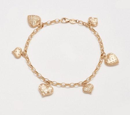 Eternagold Multi Heart Charm Bracelet 14k Gold 4 7g Qvc
