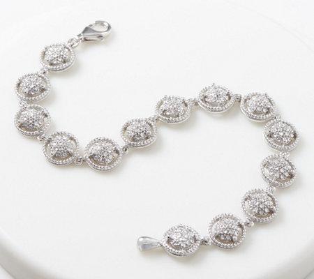 Sterling Silver Diamond Cut Tennis Bracelet By Silver Style