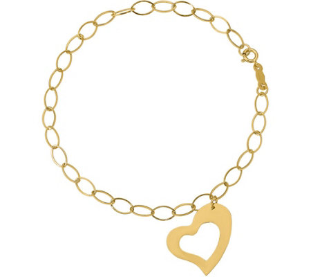 14K Oval Link with Heart Dangle Bracelet, 1.0g