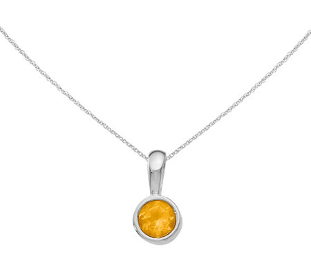 14k White Gold Citrine Pendant W 18 Chain
