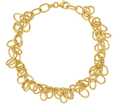 Italian Gold Oval Link Dangle Bracelet 14K, 5.6g