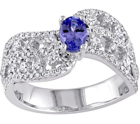 0.40 ct Tanzanite & 7/10 cttw Diamond Ring, 14K