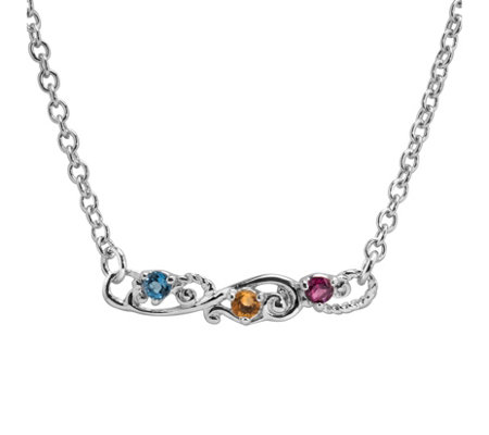 Carolyn Pollack Sterling Multi-Gemstone Bar Necklace