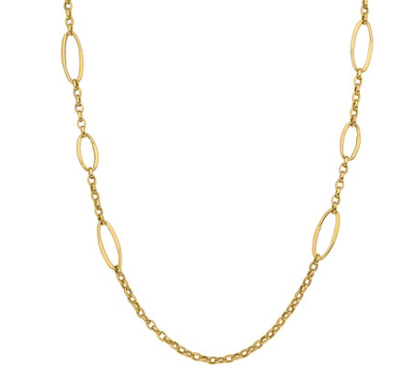 14K Gold Oblong & Curb Link Necklace, 11.4g