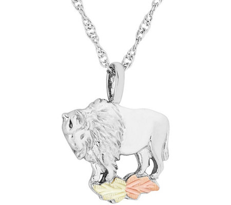 Black Hills Buffalo Pendant with Chain Sterling, 12K Gold