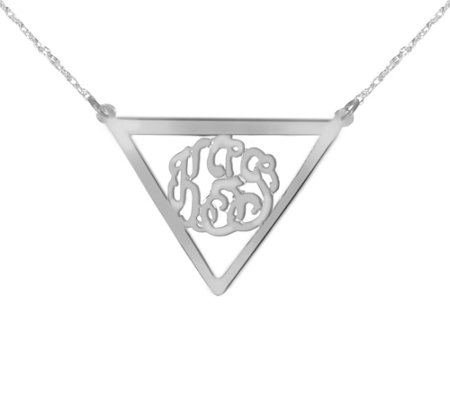 Sterling Silver Triangle Framed Monogram Pendant w/ Chain